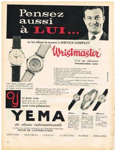 Publicité YEMA 196? | Pensez aussi à Lui - Wrismaster