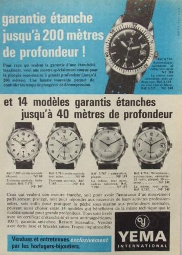 Publicité YEMA 1962 (?) | Garantie étanche ; Submarine ; Sous Marine ; Wrismaster