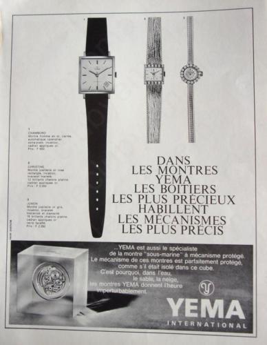 Publicité YEMA 196? | Cube ; YEMA Carrée Homme Chambord