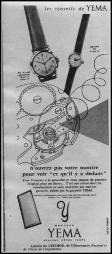 Publicité YEMA 1958 | Les Conseils de YEMA