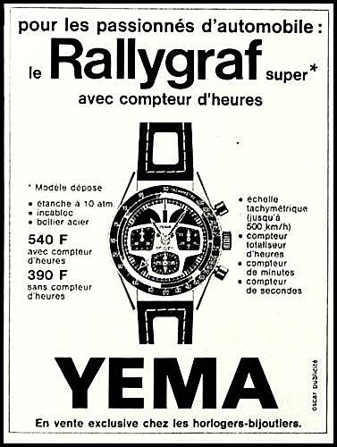 Publicité YEMA 1969 | YEMA Rallygraf