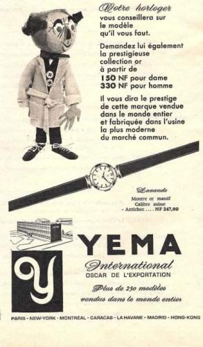 Publicité YEMA 1961 | Votre horloger vous conseille ; Cadeau de fin d'année ; Modele femme Lavande