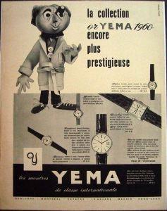 Publicité YEMA 1960 | Votre horloger vous conseille ; YEMA Or