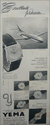 Publicité YEMA 1959 | Exactitude et précision ; Avion