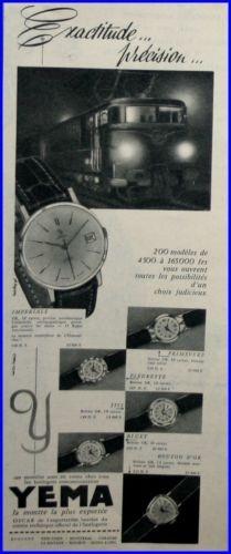 Publicité YEMA 1960 (?) | Exactitude et précision ; Train