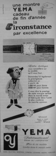 Publicité YEMA 1960 | Votre horloger vous conseille ; Cadeau de fin d'année