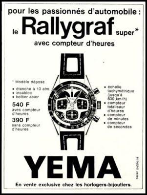 Publicité YEMA 1970 (?) | Passionnés automobile ; Rallygraf Super