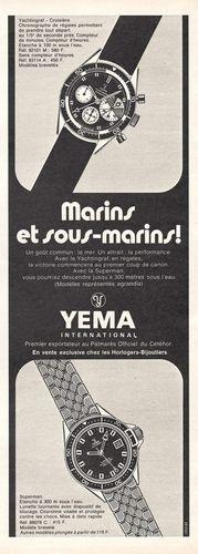 Publicité YEMA 1968 | Classiques d'aujourd'hui ; Marins et Sous-Marins ! ; Yachtingraf Superman-N&B