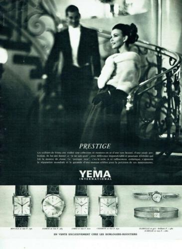 Publicité YEMA 1963   Collection Prestige