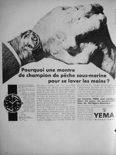 Publicité YEMA 1968   Avez-Vous Besoin... ; YEMA Automatic calendrier 8755