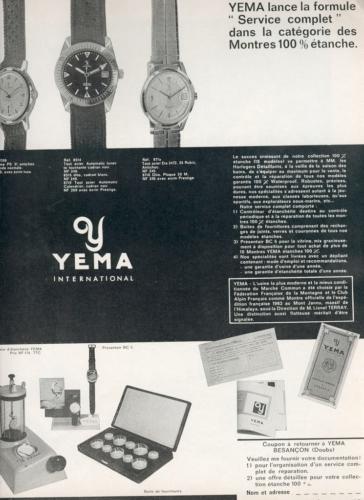 Publicité YEMA 196? | HBJO La formule Service complet ; Contrôleur étanchéité 04A ; Yema Wrismaster
