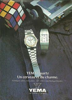 Publicité YEMA 1980 | Une cerveau et du charme ; Modèles quartz femme