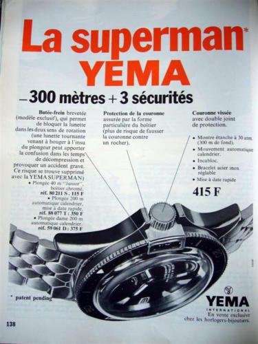 Publicité YEMA 1968 (?) | Superman 87.077 Couleur
