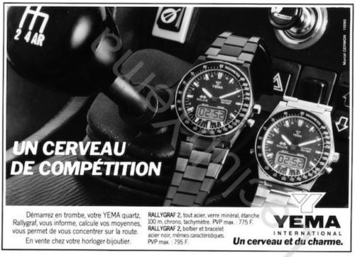 Publicité YEMA 198? | Un cerveau de compétition ; Agence Marcel Germont ; YEMA Rallygraf ESA 900 231
