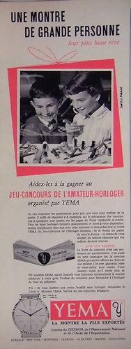 Publicité YEMA 195? | Concours Amateur horloger