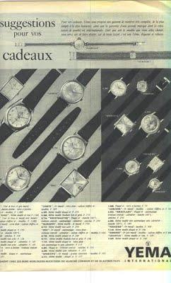 Publicité YEMA 1964 (?) | Collection Sous Marine et Wrismaster