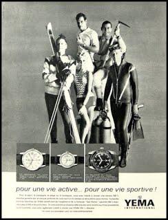 Publicité YEMA 1964 (?) | Vie active vie sportive ; Wrismater HF ; Sous Marine Sea Hunter