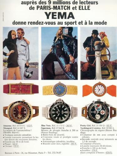 Publicité Yema 1969 | Paris Match et ELLE ; RDV Sport et Mode ; Meangraf ; Superman ; Yachtingraf