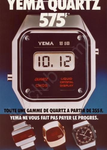 Publicité YEMA 197? | XXXF ; YEMA Quartz ; Quartz Y10 Couleur