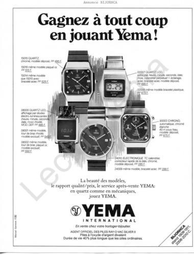 Publicité YEMA 1976| Août 76 ; Gagnez à tout coup ; Annonce salon BIJORHCA N&B