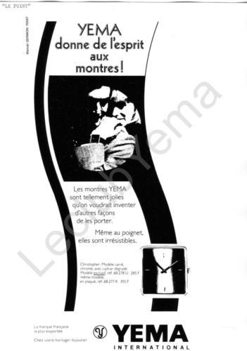 Publicité YEMA 1972 | Encart vertical ; Yema donne de l'esprit aux montres