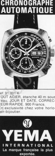 Publicité YEMA 1978 | Encart Presse ; Chrono 91.001 K