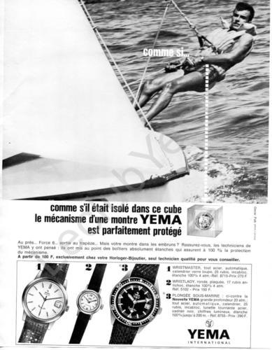 Publicité YEMA 196? | Cube ; Visuel Voile ; Wrismaster 8715 ; Wristlady 5102 ; Sous Marine SeaHunter 8755