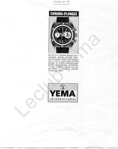 Publicité YEMA 197? | Encart Presse ; Chrono Plongée 93.121.H