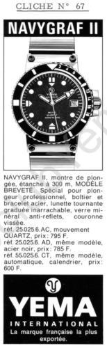 Publicité YEMA 197? | Encart Presse ; Navygraf III 55.025.6CT Automatique ; 25.025.6AC et 25.025.6AD modèles quartz