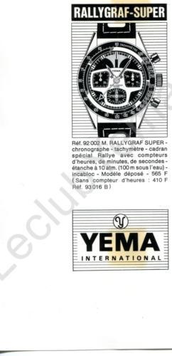 Publicité YEMA 1970 (?) | Encart Presse ; Rallygraf Super 92.002 M et 93.016 B