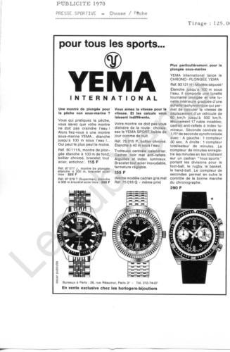 Publicité YEMA 1970 | Encart Presse Chasse pêche