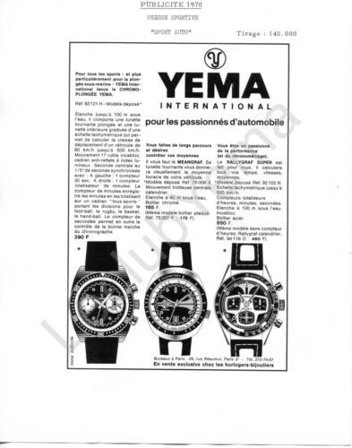 Publicité YEMA 1970 | Encart Presse Sport Auto ; Chrono Plongée 93.121; Meangraf 75.006; Rallygraf Super 92.102