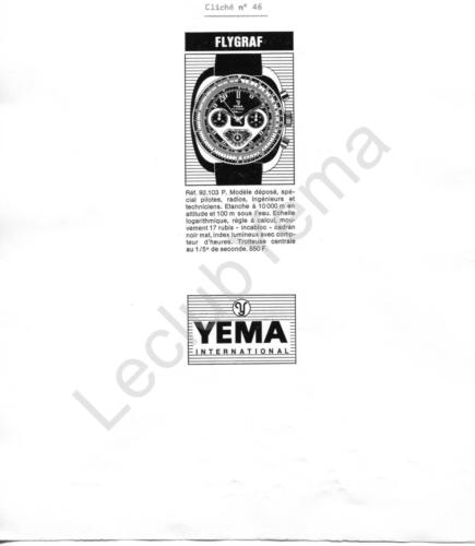 Publicité YEMA 1970 (?) | Encart presse ; Flygraf 92.103