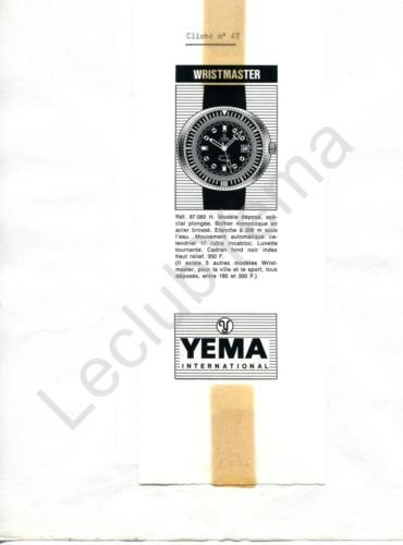 Publicité YEMA 1970 (?) | Encart presse ; Wristmaster Monocoque 87 083