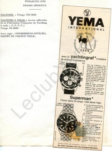 Publicité YEMA 1970 | Encart presse ; Yachtingraf 92.101 et 93.114 ; Superman 87.077