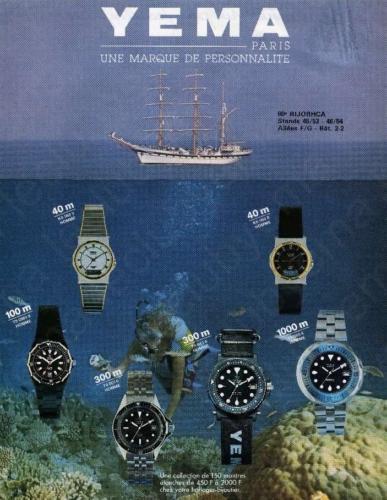 Publicité YEMA 1975 | 60e Salon BIJORHCA ; YEMA Superman ; Navygraf III Black ; 1000m