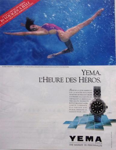 Publicité YEMA 198? | L'heure des Héros ; Plongée 300 m Femme ; Muriel Hermine