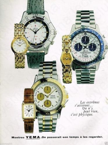 Publicité YEMA 1989 | On passerait son temps à les regarder ; Chrono Alarm chronograph Timer
