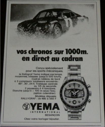 Publicité YEMA 197? | Vos chronos sur 1000m ; YEMA Rallygraf Date