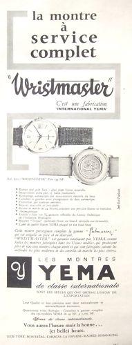 Publicité YEMA 196? | Wrismaster ; La montre à service complet