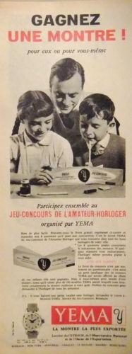 Publicité YEMA 196? | Concours amateur horloger
