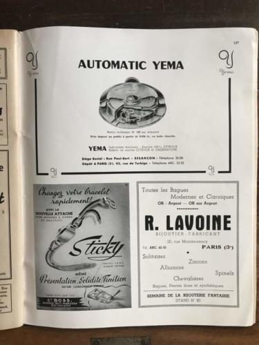 Publicité YEMA 1951 | Calibre 231 A in La France Horlogère Septembre 1951_02