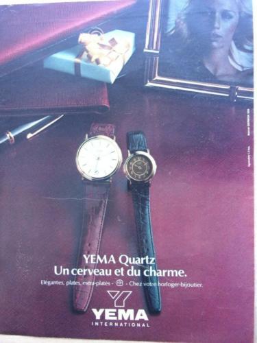 Publicité YEMA 1980 | Une cerveau et du charme ; Modèles quartz HF ronds