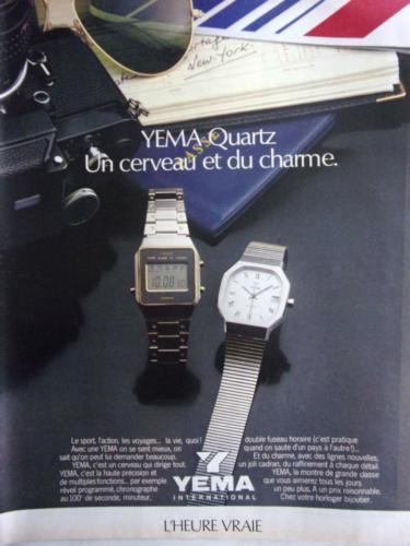 Publicité YEMA 1980 | Une cerveau et du charme ; Modèles quartz homme