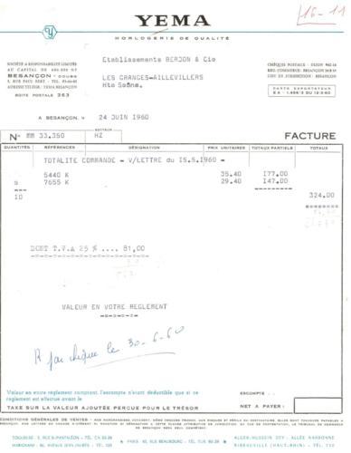 YEMA Facture 1960