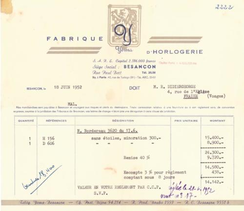 Histoire YEMA - Facture YEMA 1952