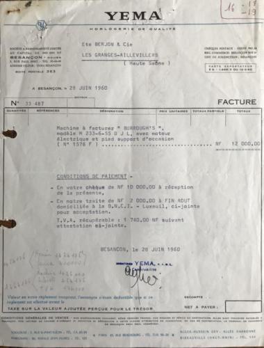 YEMA_Facture 19600628_Facture Vente machine Burroughs