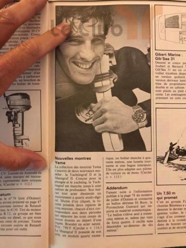 Article Océans magasine Août 1979 yema yachtingraf analogique, yachtingraf quartz , meangraf 2