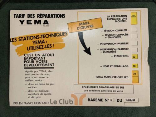 tarif des réparations Yema sav 1984