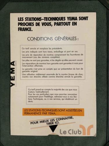 tarif des repations Yema sav 1984